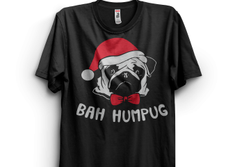 Christmas Pug buy t shirt design for commercial use