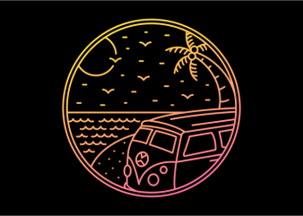 Combi Beach Trip design for t shirt