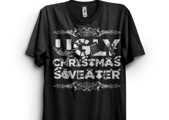 Cool Ugly Christmas Sweater t shirt vector file