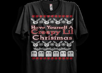 Creepy Lil Christmas t shirt vector file
