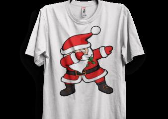 Dabbing Santa Claus Christmas t shirt vector illustration