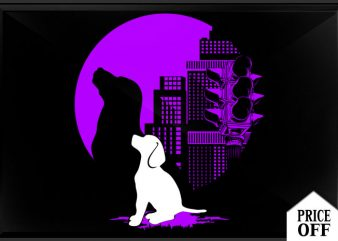 Dog in City vector t-shirt design template