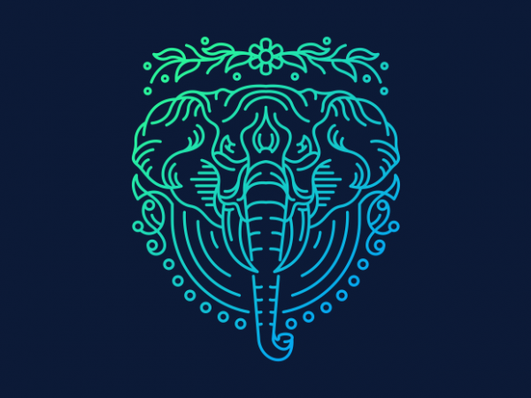 Elephant Lines t shirt design png