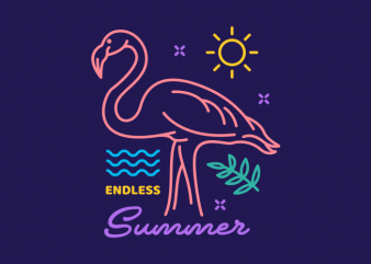 Flamingo Endless Summer vector t-shirt design for commercial use