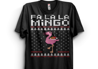 Flamingo Ugly Christmas Sweater t-shirt design png