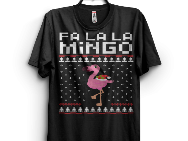 Flamingo Ugly Christmas Sweater t shirt design png