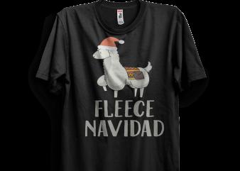Fleece Navidad Alpaca With Santa Hat Christmas Pun t shirt design png