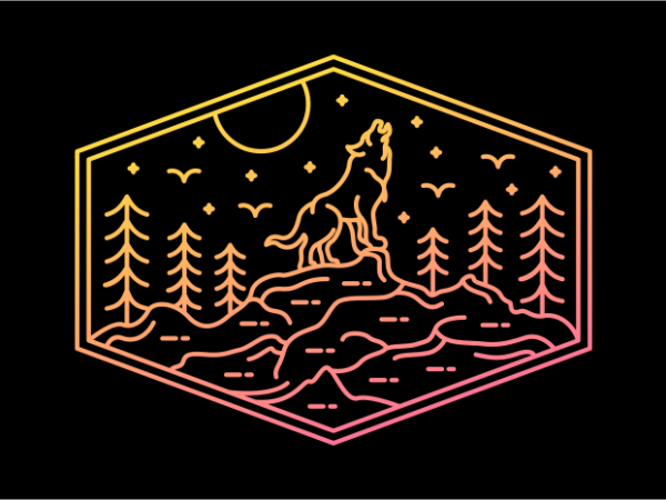 Full Wolf Moon vector shirt design