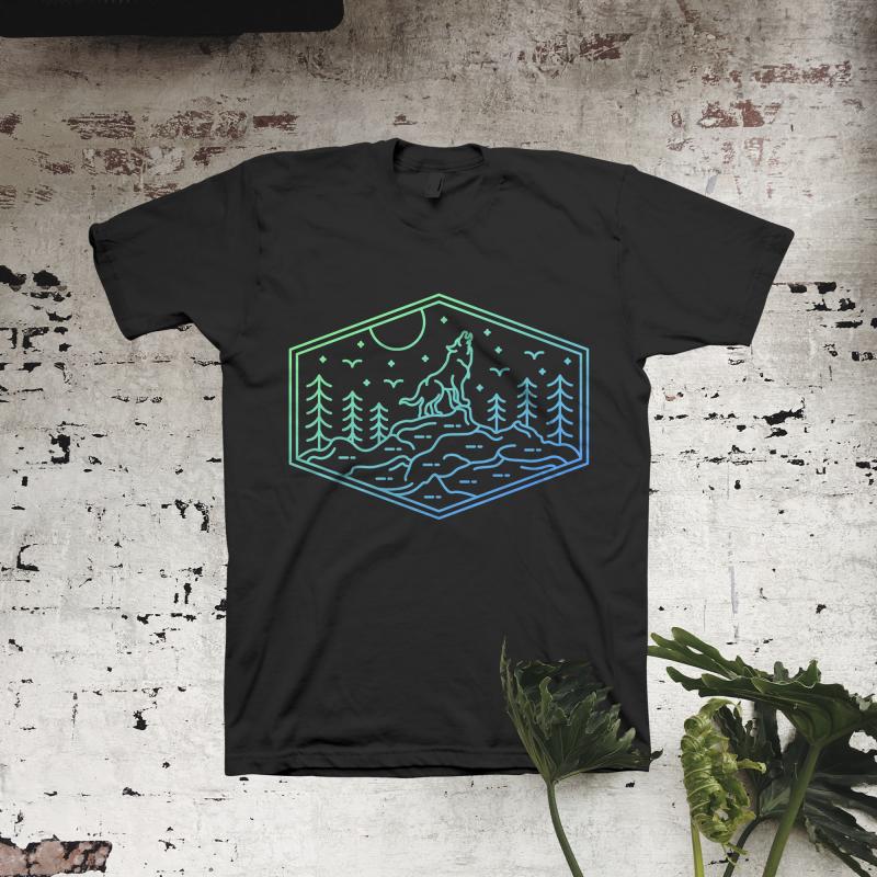 Full Wolf Moon t shirt designs for merch teespring and printful