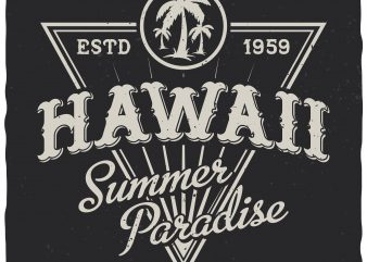 Hawaii summer paradise vector t-shirt design