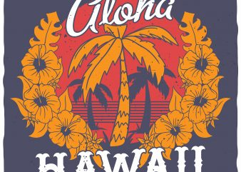 Alloha Hawaii vector t-shirt design