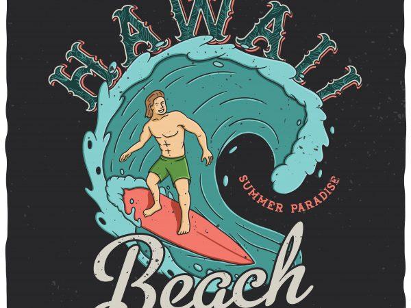 Hawaii beach vector t-shirt design