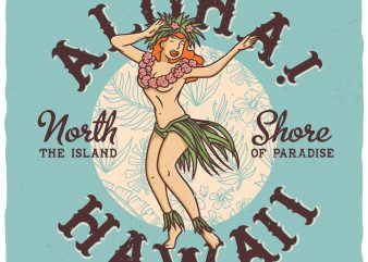 Alloha Hawaii, north shore vector t-shirt design