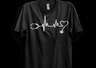Hearbeat Stethoscope t shirt design template