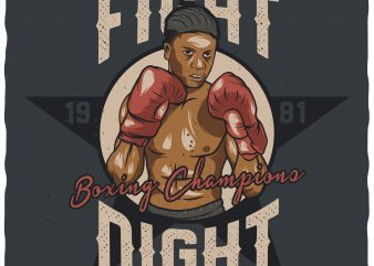 Fight night. Vector t-shirt design.