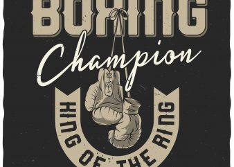 Boxing champion. Vector t-shirt design.