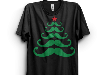 Hipster Christmas Tree commercial use t-shirt design