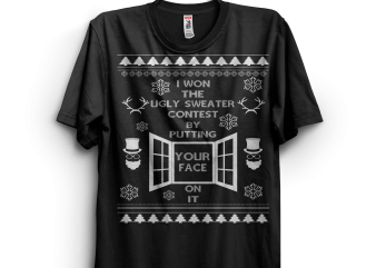 I won the ugly sweater contes t-shirt design for commercial use