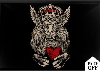 Lion heart t shirt vector graphic