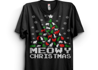 Meowy Christmas t-shirt design for sale