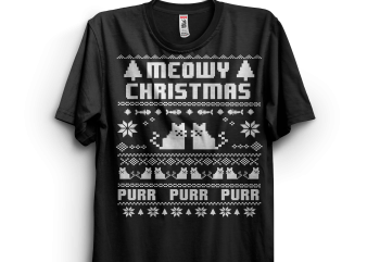 Meowy Christmas Purr Purr t shirt designs for sale