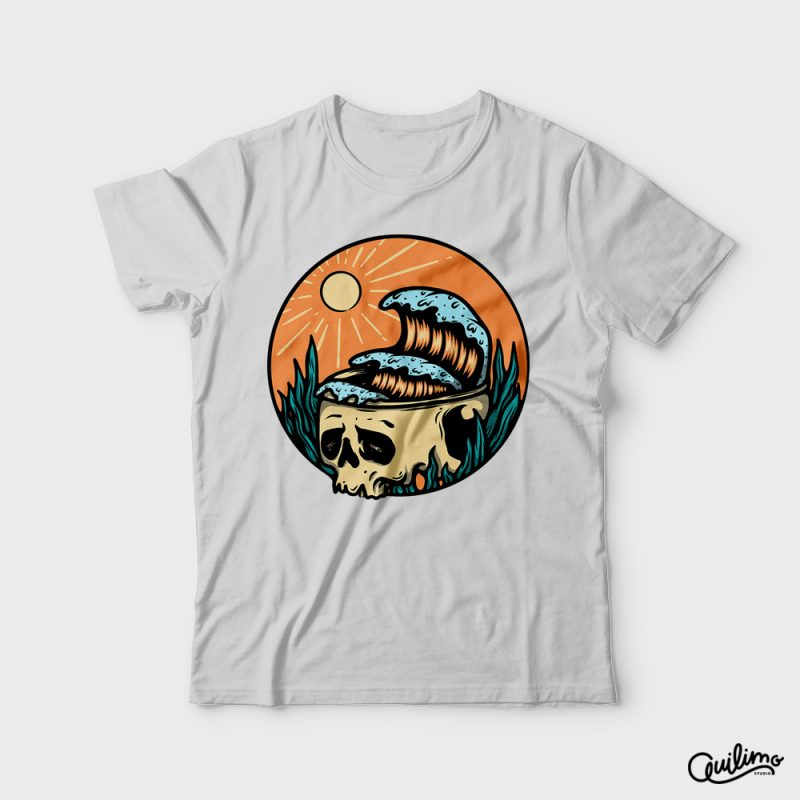 Skull and Wave t shirt design png