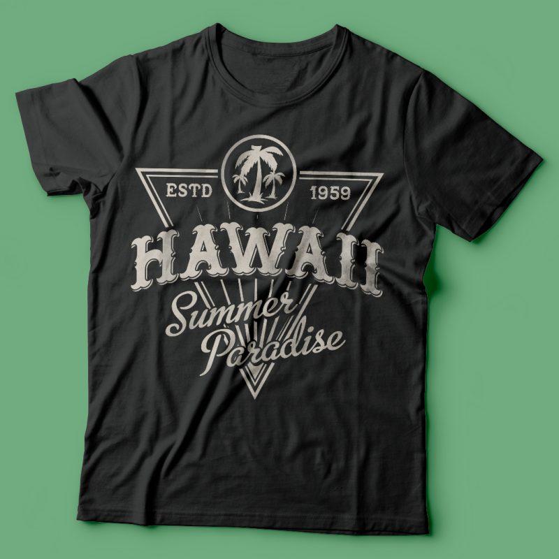 Hawaii summer paradise vector t-shirt design buy t shirt design