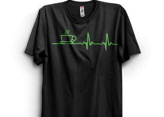 Morning Coffee Heartbeat t-shirt design for sale