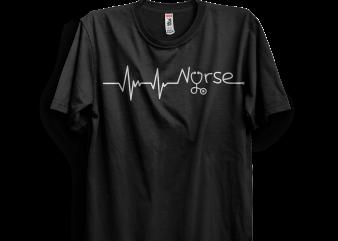 NURSE TEE HEARTBEAT T shirt vector artwork