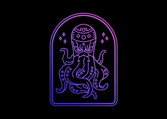 Ninja Octopus T shirt vector artwork