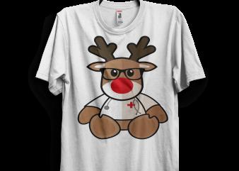 Nurse Christmas Reindeer print ready t shirt design