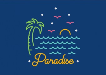 Paradise vector t shirt design for download