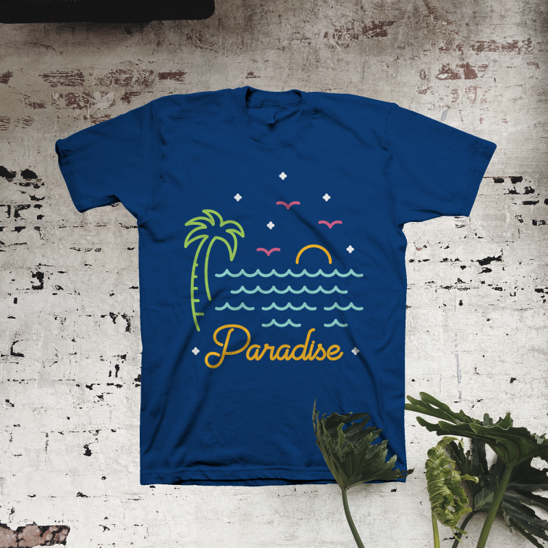 Paradise tshirt designs for merch by amazon