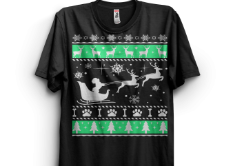 Poodle Sleigh Christmas graphic t-shirt design