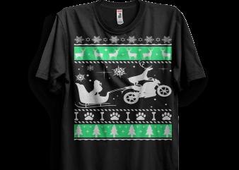 Poodle Sleigh Christmas With Motobike buy t shirt design