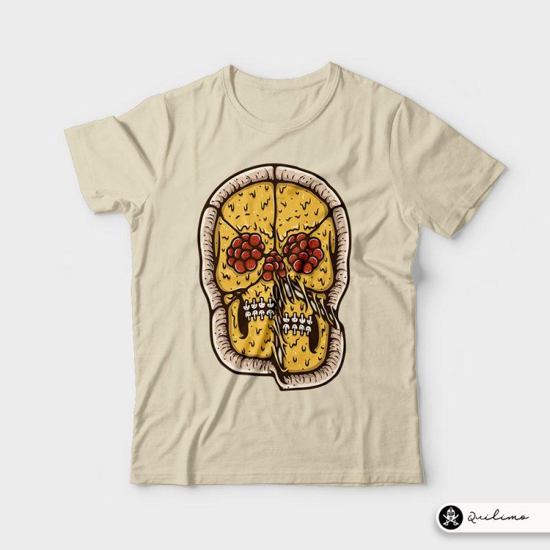 Pizza Skull t shirt designs for print on demand