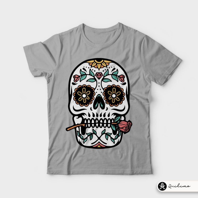 Mexican Skull tshirt design for merch by amazon