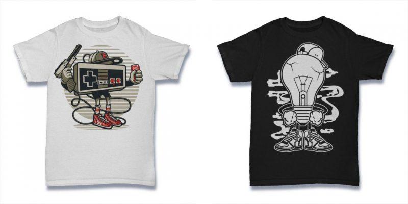101 cartoon vector tshirt designs