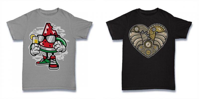Cartoon vector t shirt designs
