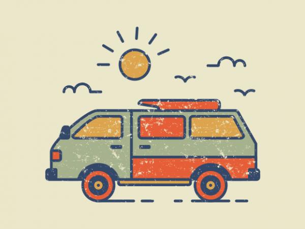 Retro Travel Van vector t-shirt design