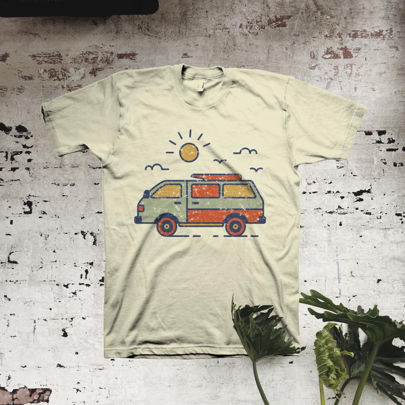 Retro Travel Van tshirt factory