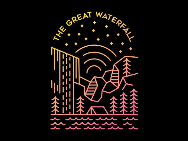 The Great Waterfall vector t-shirt design template