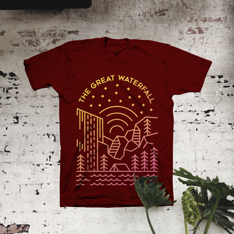The Great Waterfall t shirt designs for print on demand