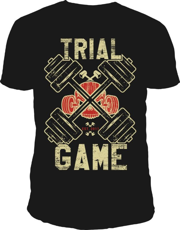 Trial game t-shirt design vector t shirt designs for print on demand