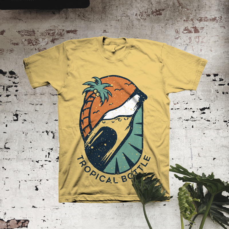 Tropical Bottle t shirt designs for printify