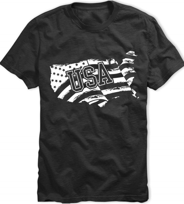 American (USA) flag design t-shirt t shirt design graphic
