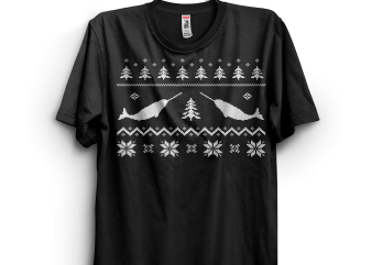 Ugly Narwhal Christmas Sweater t shirt vector graphic