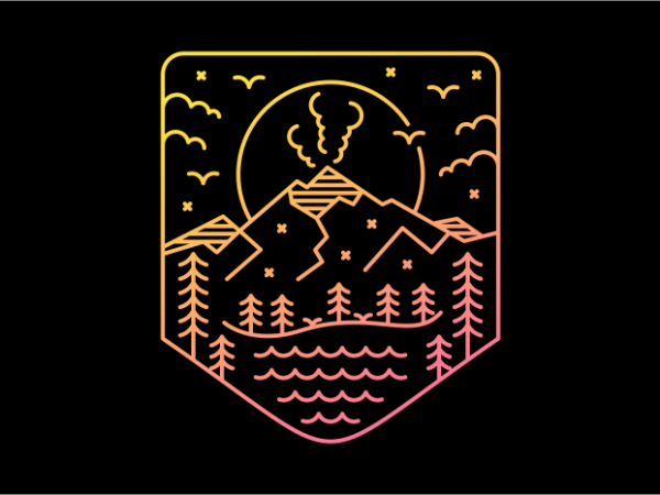Volcano Lines graphic t-shirt design
