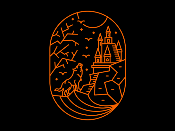 Wolf on Halloween vector shirt design