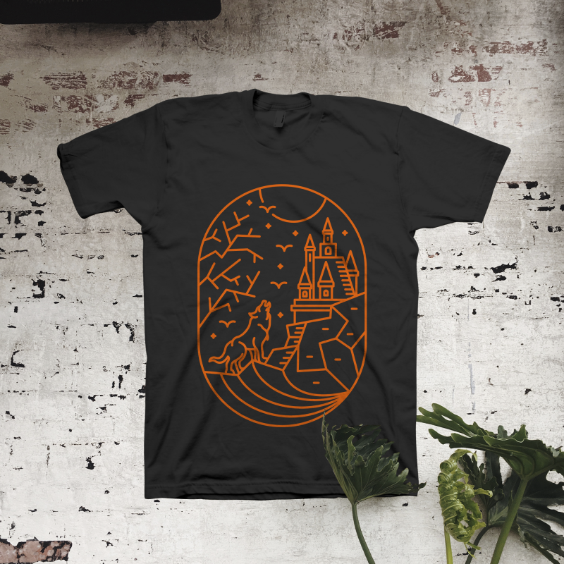 Wolf on Halloween t shirt designs for merch teespring and printful